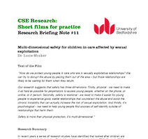 Multi dimensional safety for children in care affected by sexual exploitation-